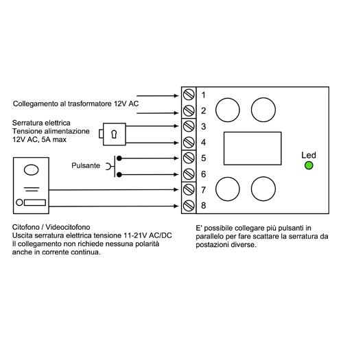 Schema Elettrico Per Elettroserratura : Scheda attivazione serratura elettrica con protezione